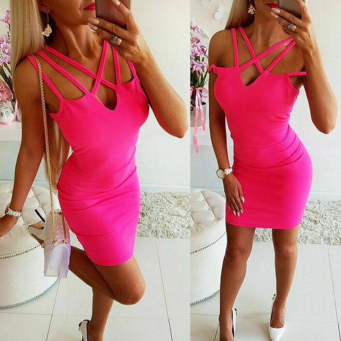 Sleeveless Holiday Ladies Summer NEON PINK MINI DRESS