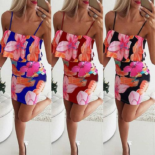 Floral Strappy Bodycon Mini Dress