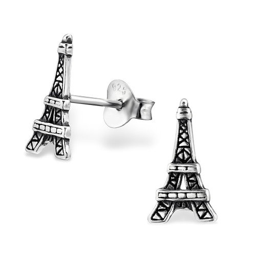 Eiffel Tower - 925 Sterling Silver Plain Ear Studs