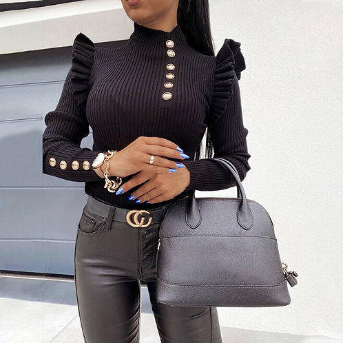 Turtle Neck Knitted Long Sleeve Frill Ruffle Blouse in Black