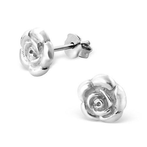 Rose - 925 Sterling Silver Plain Ear Studs