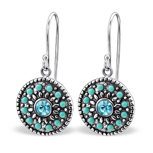 Round - 925 Sterling Silver Crystal Earrings