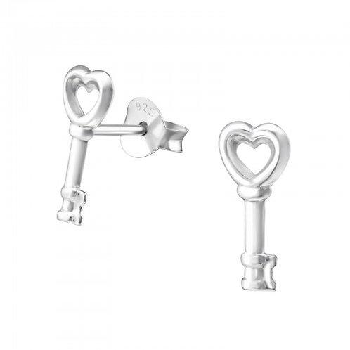 Key Heart - 925 Sterling Silver Plain Ear Studs