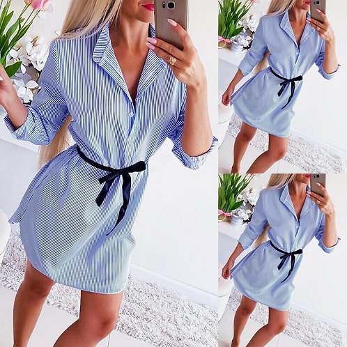 Striped Long Sleeve Shirt Mini Dress