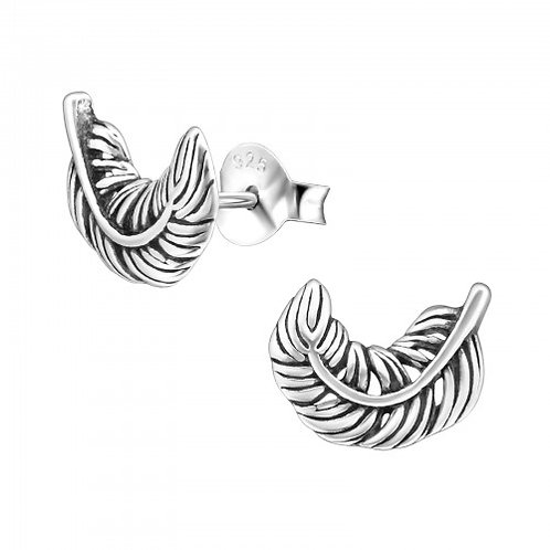 Feather - 925 Sterling Silver Plain Ear Studs