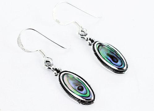 LUXURY Abalone oval earrings 925 STERLING SILVER