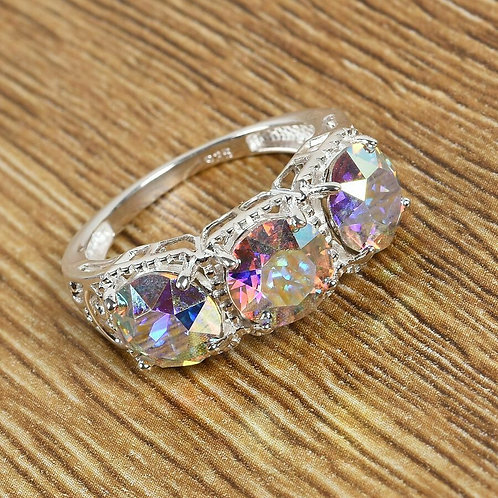 AB Crystal Three Stone Ring in Sterling Silver