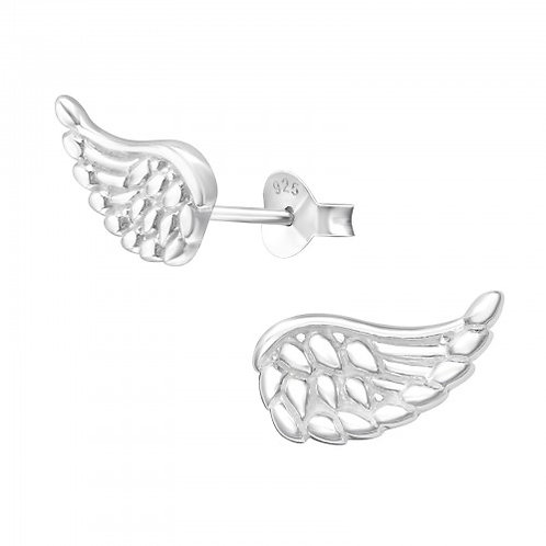 Wing - 925 Sterling Silver Plain Ear Studs
