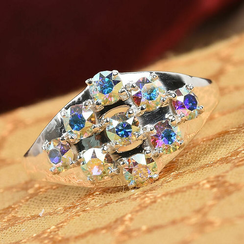 Cluster Ring Made with Swarovski AB Crystal 925 STERLING SILVER