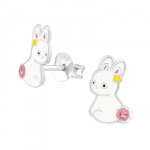 Rabbit - 925 Sterling Silver Crystal Ear Studs