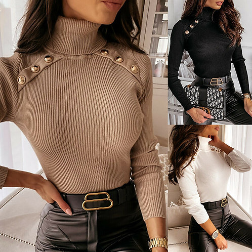 Turtle Neck Knitted Sweater with Buttons in 3 colours