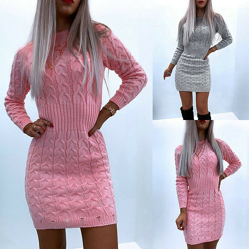 Knitted Sweater Bodycon Mini Dress-Grey or Pink