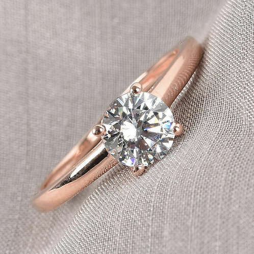 Solitaire Ring Made with Swarovski Zirconia Rose Gold Plated Silver