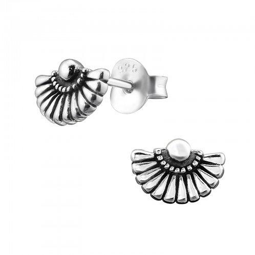 Fan - 925 Sterling Silver Plain Ear Studs