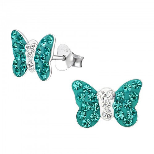 Butterfly - 925 Sterling Silver Crystal Ear Studs