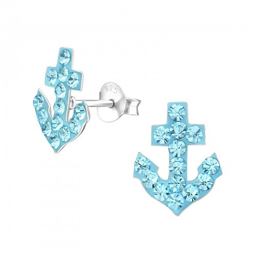 Anchor - 925 Sterling Silver Crystal Ear Studs