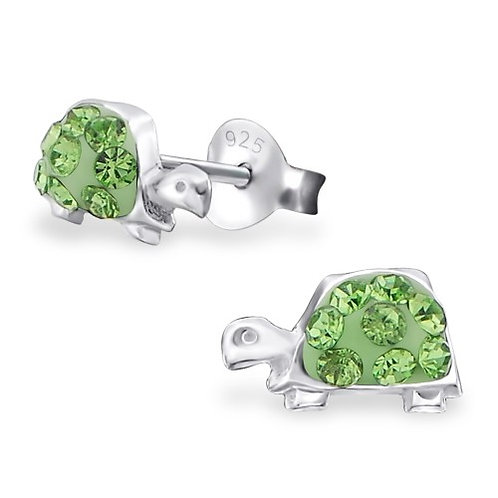 Turtle - 925 Sterling Silver Crystal Ear Studs