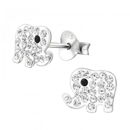 Elephant - 925 Sterling Silver Crystal Ear Studs