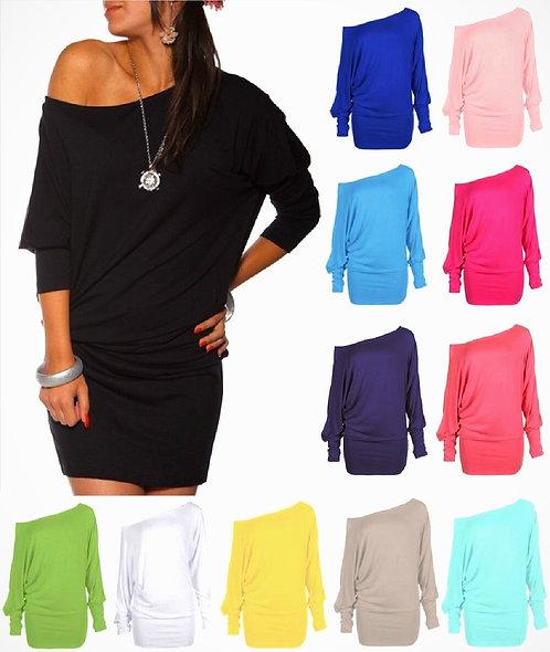 Long Sleeved Batwing Tunic Mini Dress