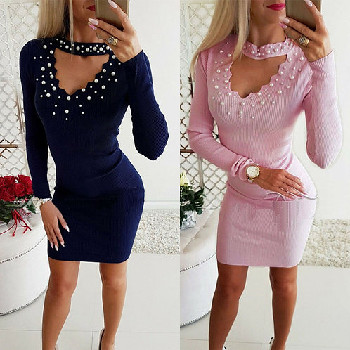 Long Sleeve Bodycon Evening Mini Dress