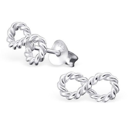 Infinity - 925 Sterling Silver Plain Ear Studs
