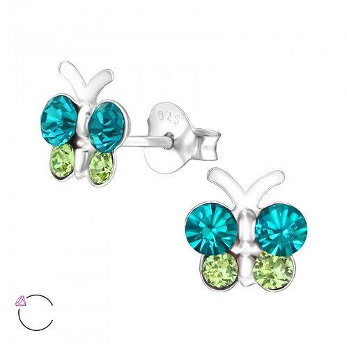 Butterfly - 925 Sterling Silver Crystal Ear Studs