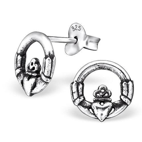 Claddagh - 925 Sterling Silver Plain Ear Studs