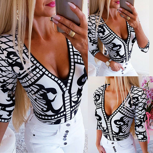 3/4 Sleeve Wrap Printed Bodysuit T-Shirt / Blouse