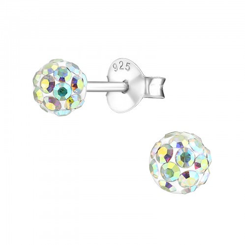 Round - 925 Sterling Silver Crystal Ear Studs