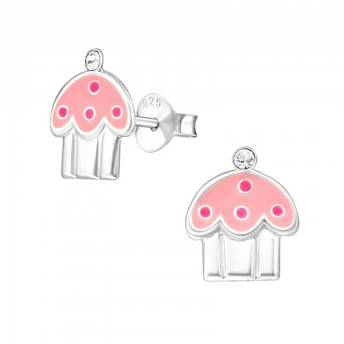 Cupcake - 925 Sterling Silver Crystal Ear Studs