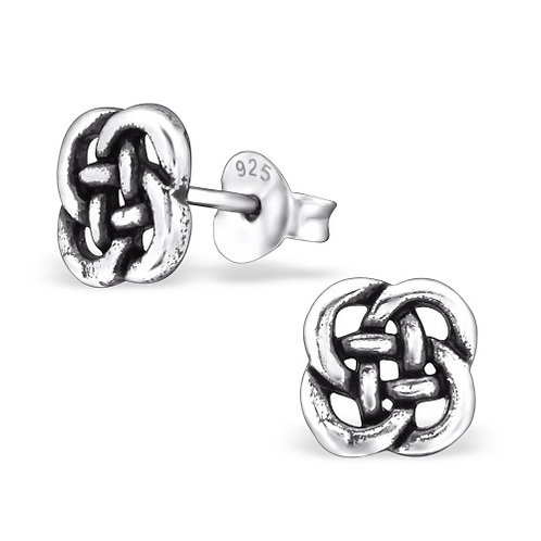 Flower - 925 Sterling Silver Plain Ear Studs