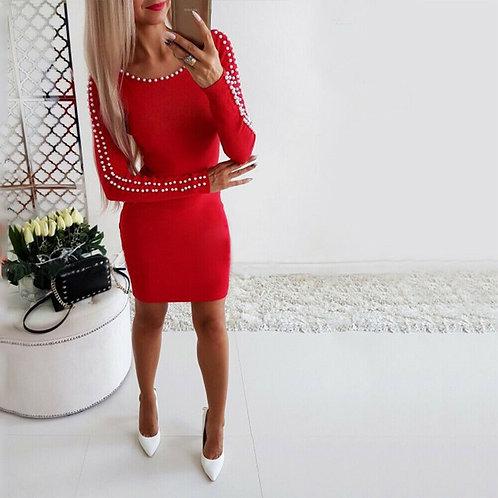 Beaded Plain Long Sleeve Mini Dress