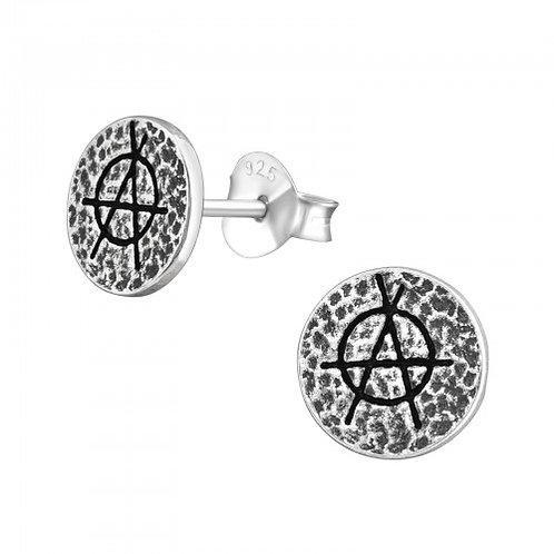 Anarchy - 925 Sterling Silver Plain Ear Studs