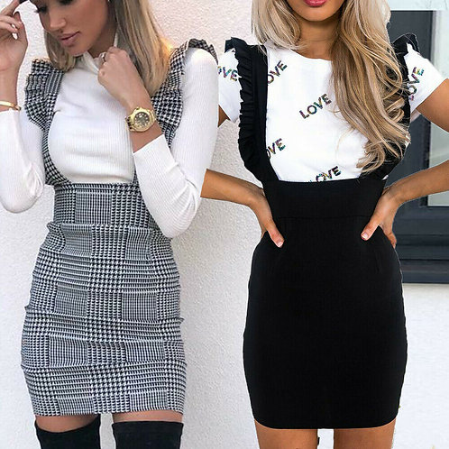Bodycon Check Dog Tooth Frill Pinafore Ruffle Dress