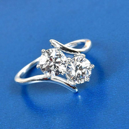 Bypass Ring Made with Swarovski Zirconia