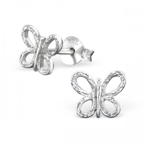 Butterfly - 925 Sterling Silver Plain Ear Studs
