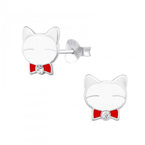 Cat - 925 Sterling Silver Crystal Ear Studs
