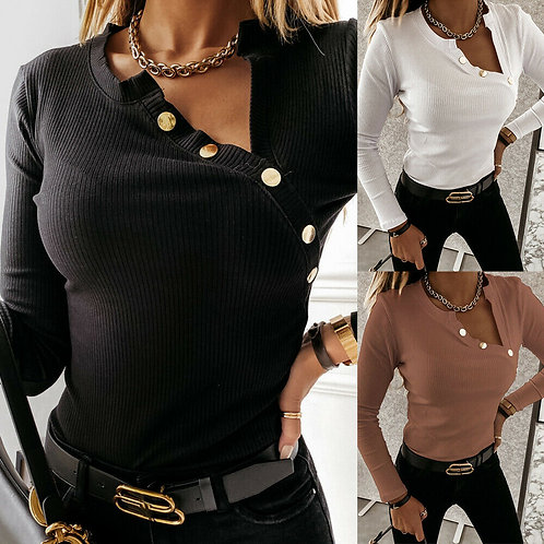 Button Knitted Blouse Long Sleeve in 3 colours