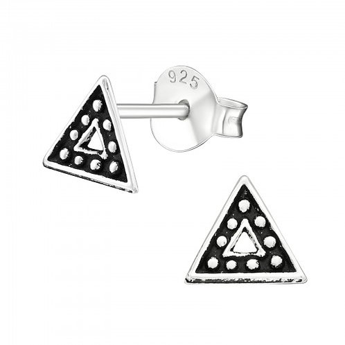 Triangle - 925 Sterling Silver Plain Ear Studs