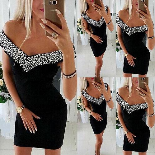 BLACK Off Shoulder Diamante V Neck Mini Dress