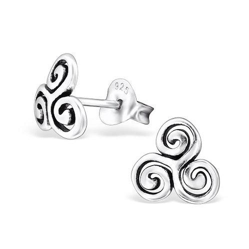 Swirl - 925 Sterling Silver Plain Ear Studs