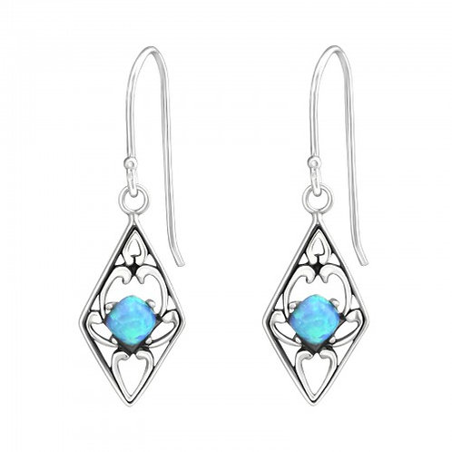 Diamond Shaped - 925 Sterling Silver Semi Precious and Opal Earrings