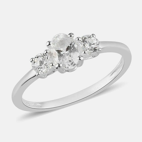 Sterling Silver Three Stone Ring Made with Swarovski® ZIRCONIA