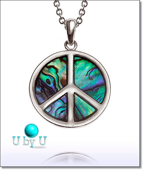 LUXURY  PAUA SHELL Peace symbol pendant