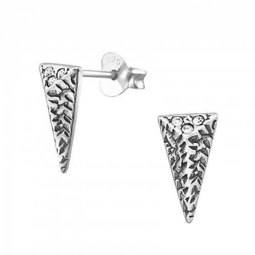 Triangle - 925 Sterling Silver Plain Ear Studs