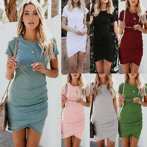 Asymmetric Bodycon Short Sleeve Holiday Dress