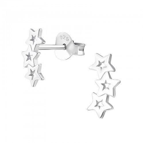 Triple Star - 925 Sterling Silver Plain Ear Studs
