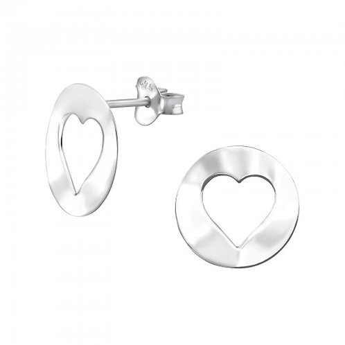 Heart - 925 Sterling Silver Plain Ear Studs