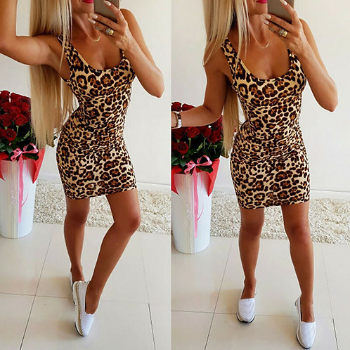 Bodycon Short Sleeve Leopard Print Dress