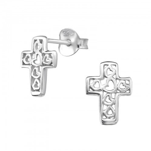Cross - 925 Sterling Silver Plain Ear Studs